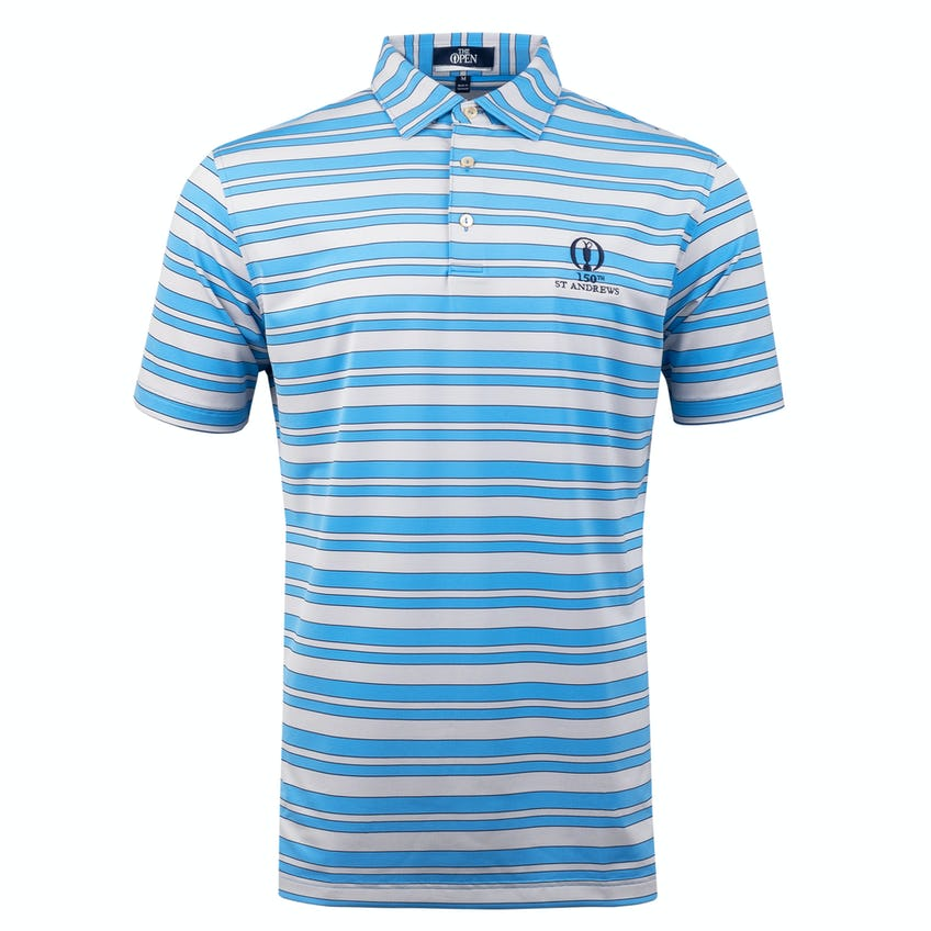 150th St Andrews Striped Polo Shirt - Blue and White 0