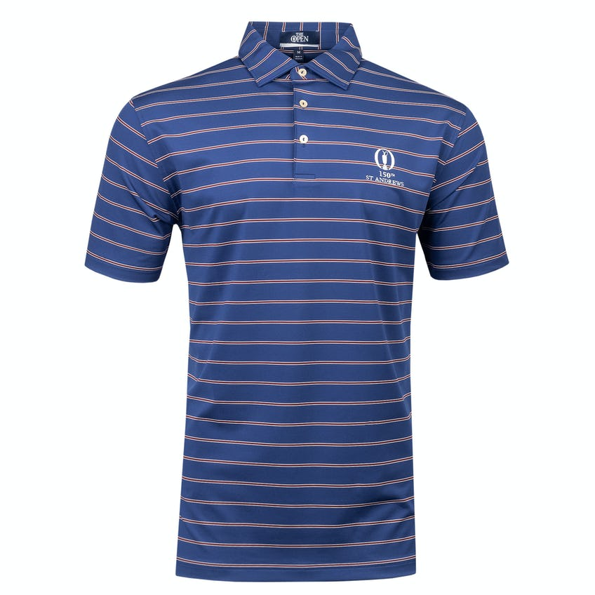 150th St Andrews Striped Polo Shirt - Navy and Burgundy 0
