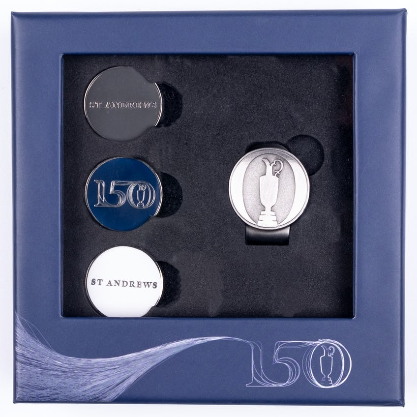 Commemorative 150th Open Ball Marker and Cap Clip Gift Set - Silver, Navy and White 0
