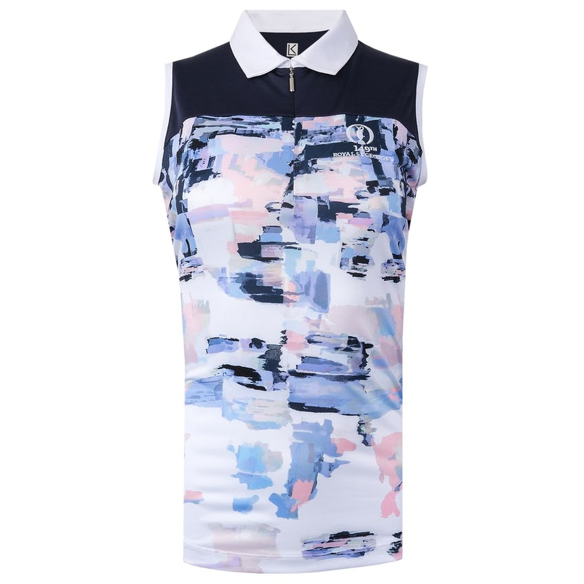 149th Royal St George's Sleeveless Polo Shirt - White, Navy and Pink 0