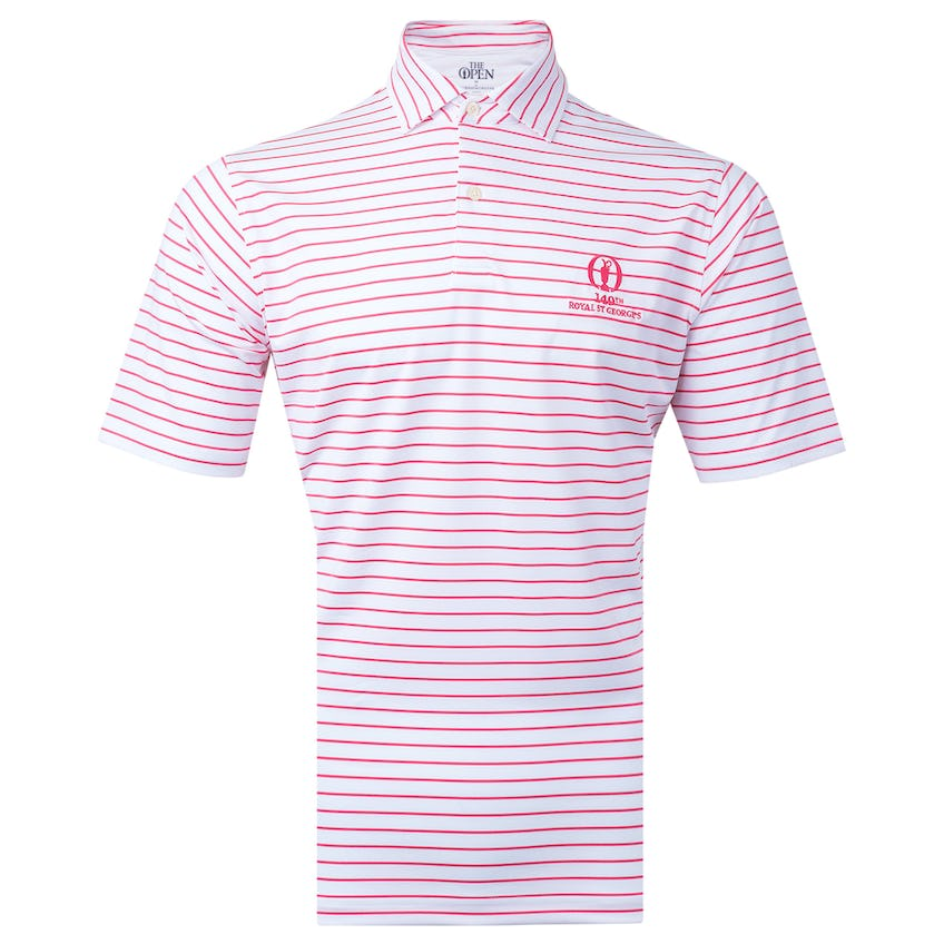 149th Royal St George's Fairway & Greene Striped Polo Shirt - White and Red 0