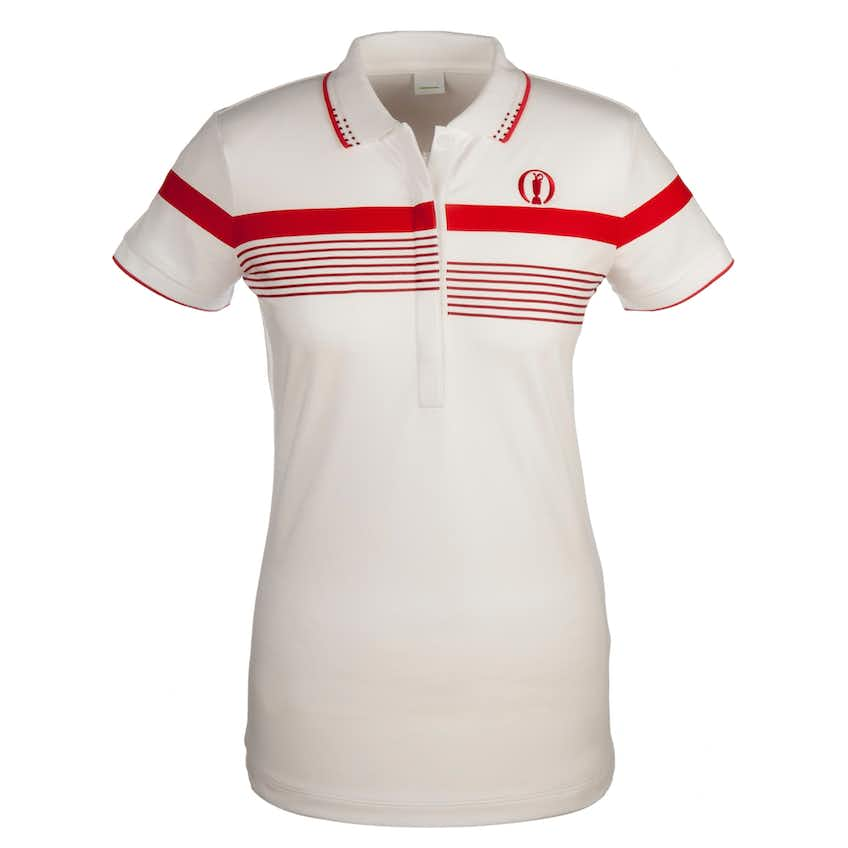 The Open BOSS Striped Polo - White