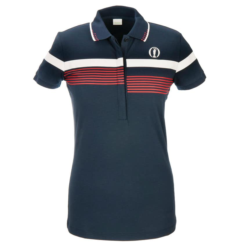 The Open BOSS Striped Polo - Blue