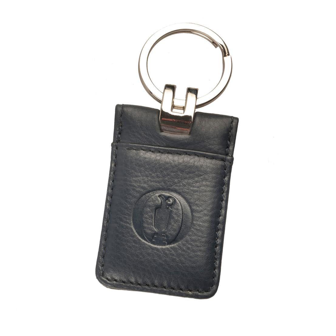 The Open Leather Embossed Keyring - Blue