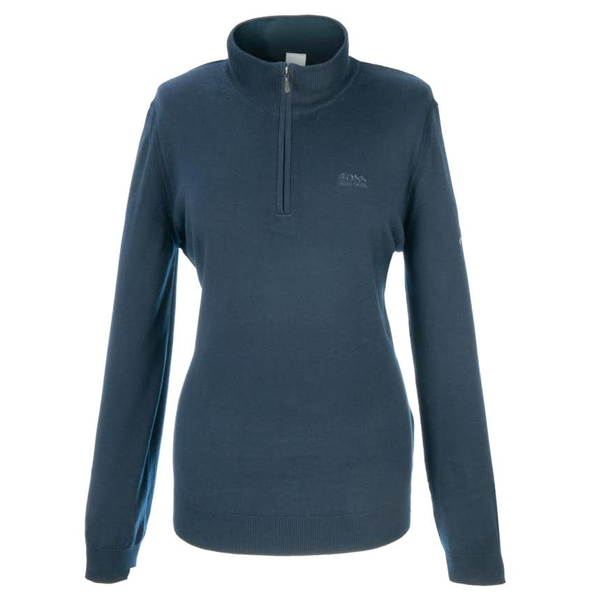 148th Royal Portrush BOSS 1/4-Zip Knitted Sweater - Blue