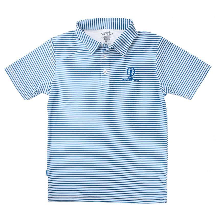 148th Royal Portrush Children's Striped Polo - Blue and White