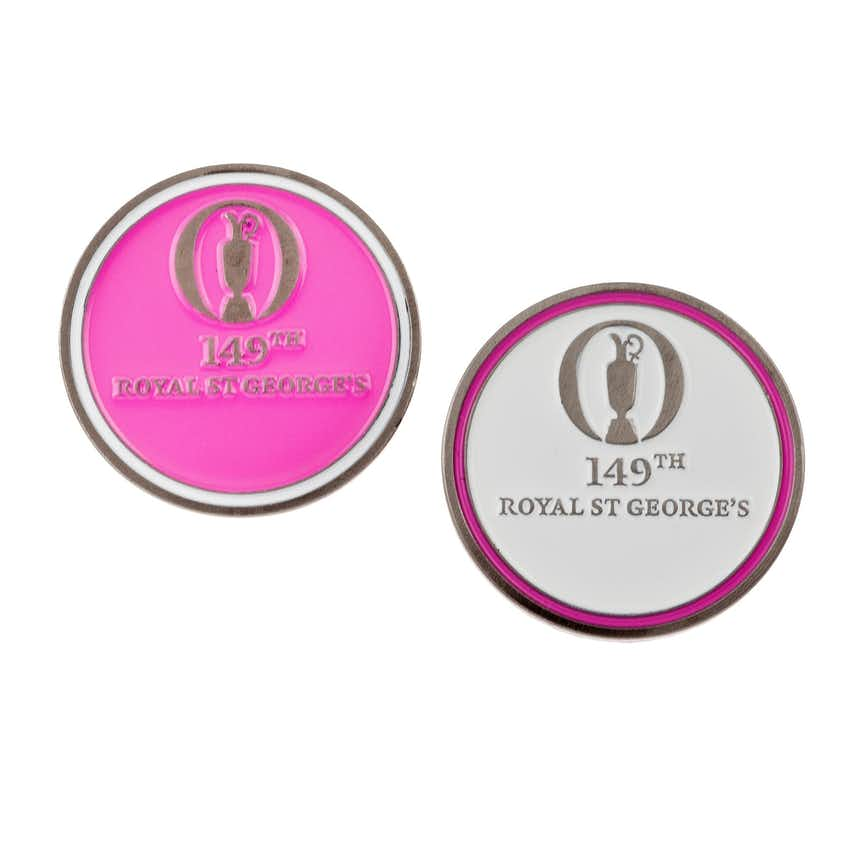 149th Royal St George's Two-Sided Ball Marker - Pink and White