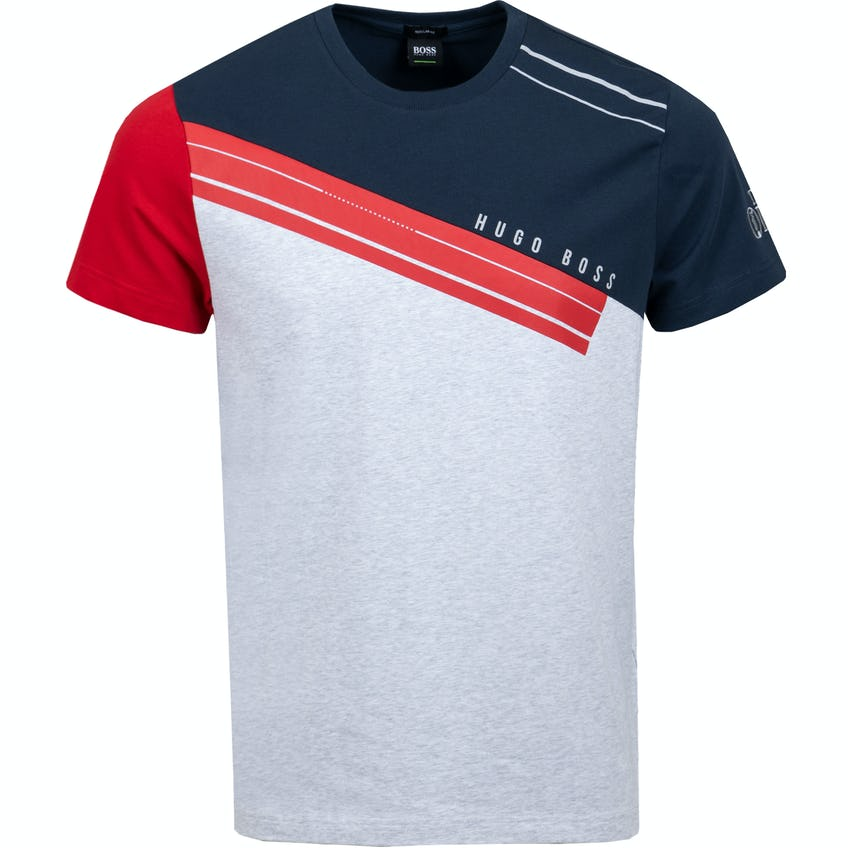 The Open BOSS Crew-Neck T-Shirt - Grey, Red and Blue