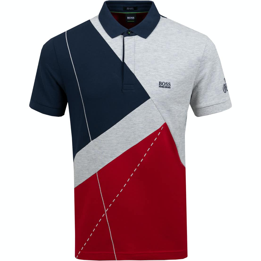 The Open BOSS Patterned Polo Shirt - Grey, Red and Blue