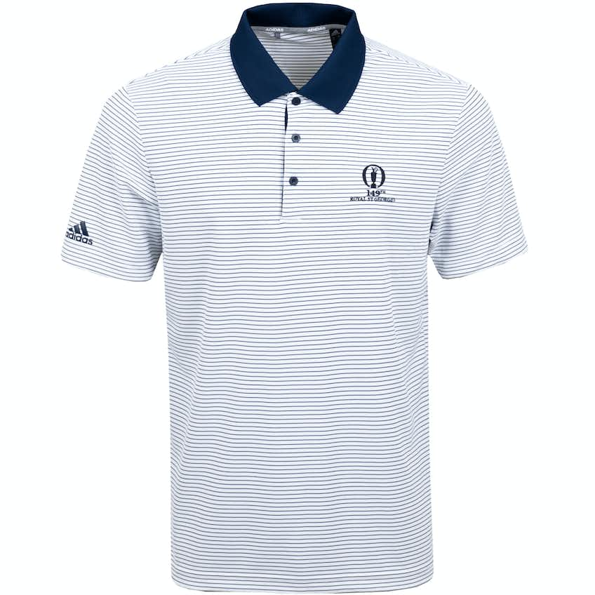 149th Royal St George's adidas Striped Polo Shirt - White and Blue