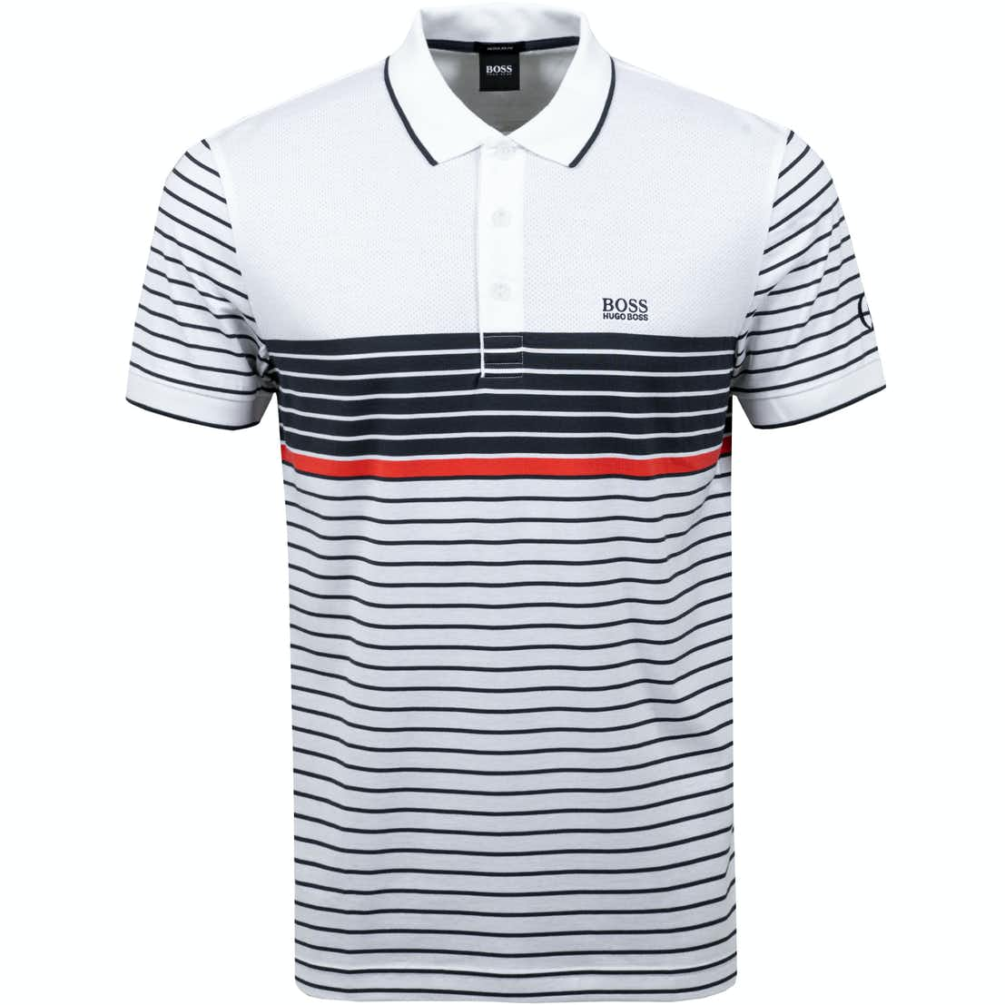 The Open BOSS Striped Polo Shirt - White and Blue