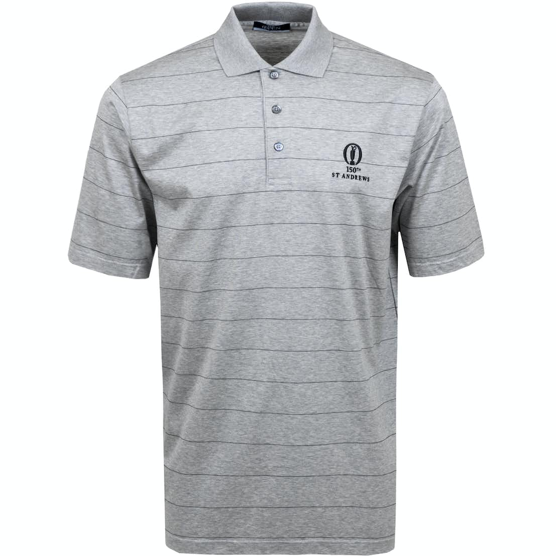 150th St Andrews Striped Polo Shirt - Grey