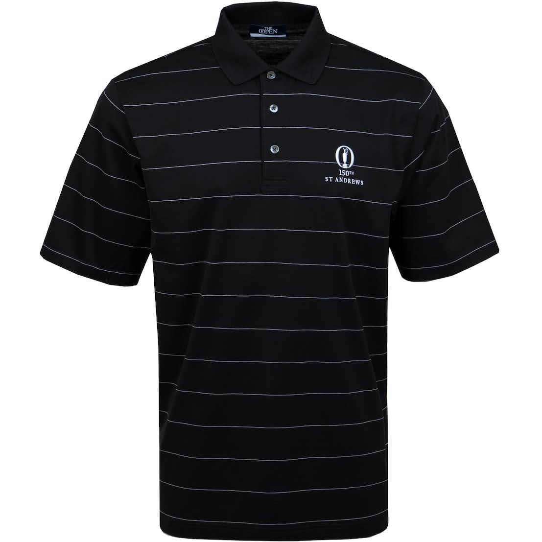 150th St Andrews Striped Polo Shirt - Black