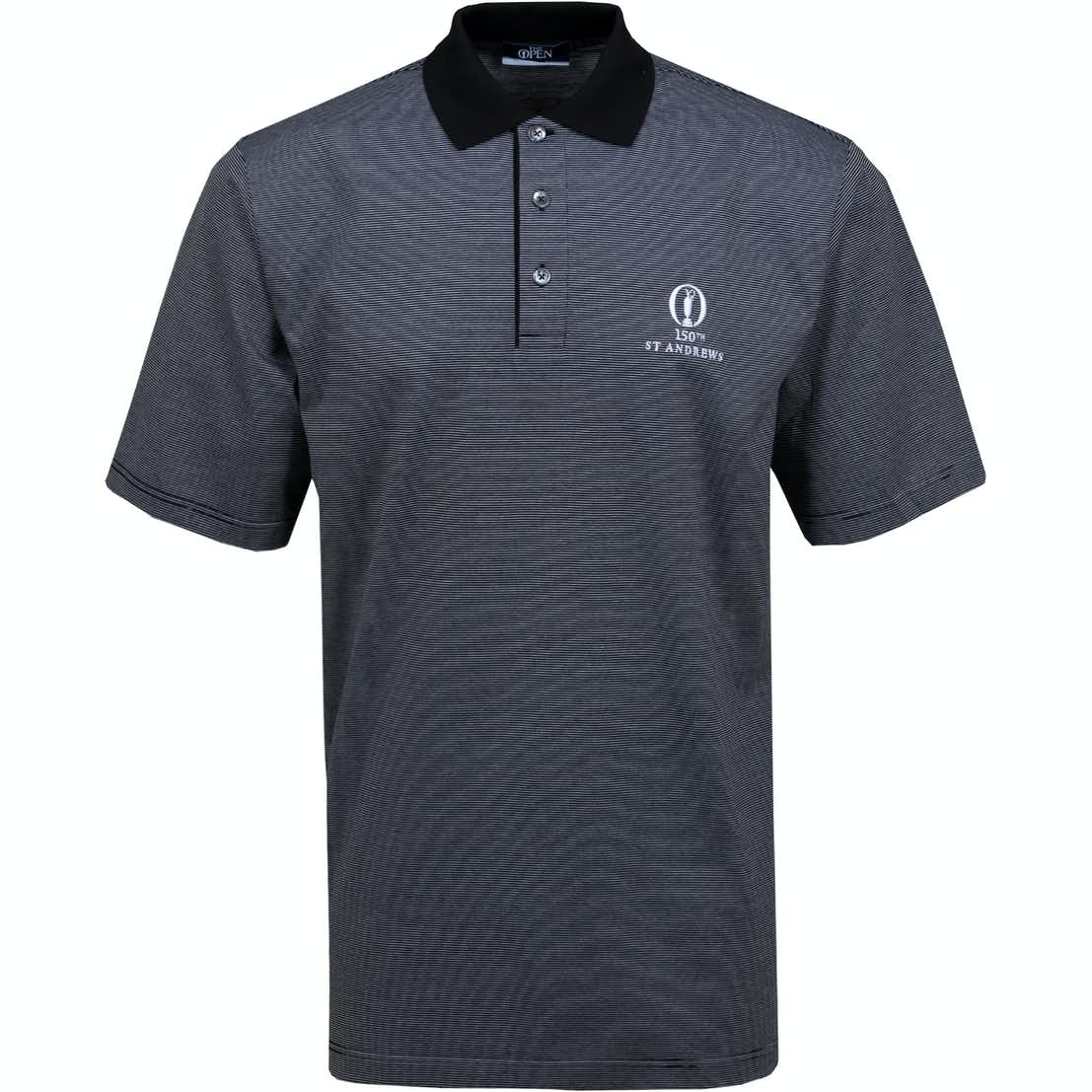 150th St Andrews Patterned Polo Shirt - Black