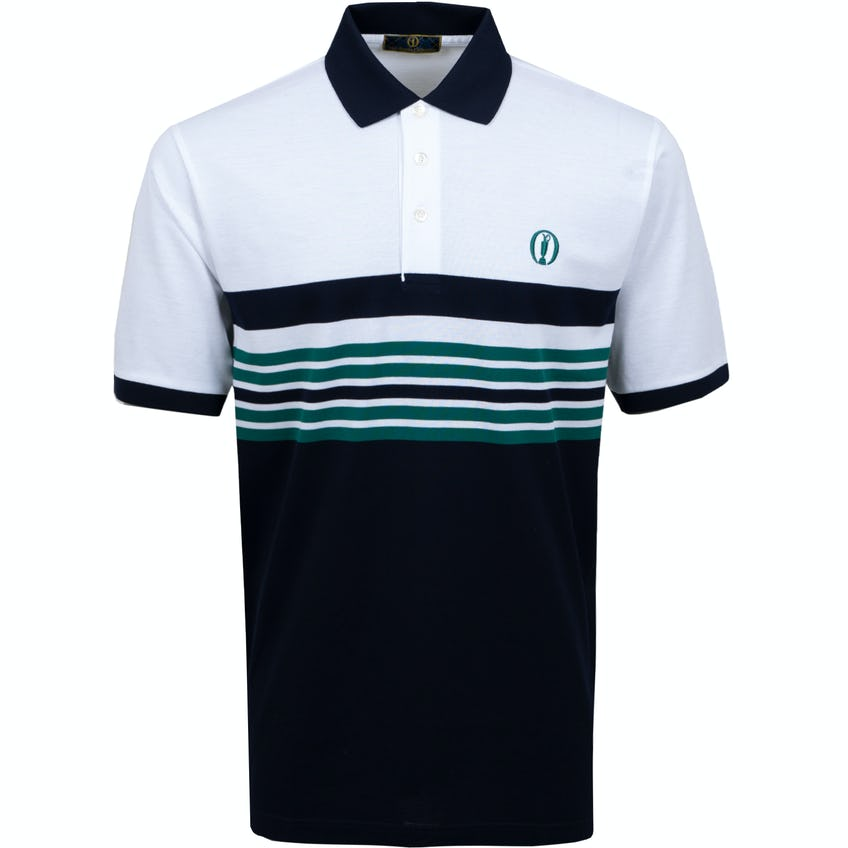 Tartan Collection Marbas Striped Polo Shirt - Navy, White and Green