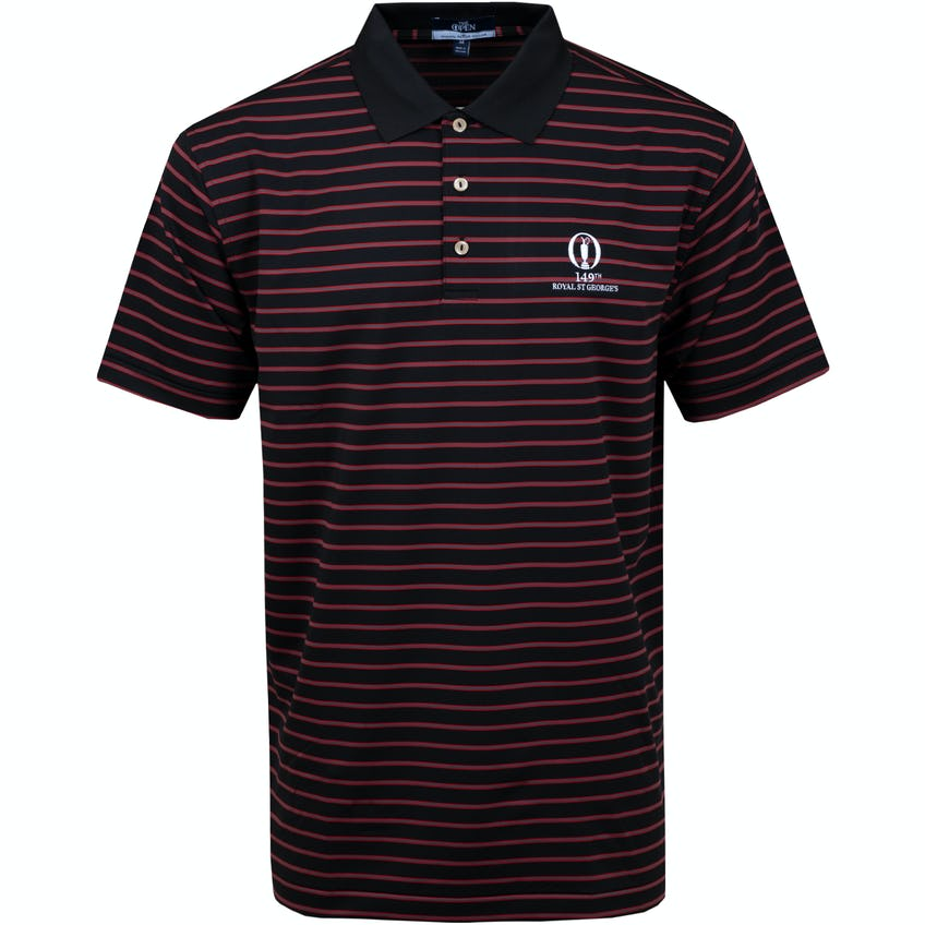 149th Royal St George's Striped Polo Shirt - Black and Red 0