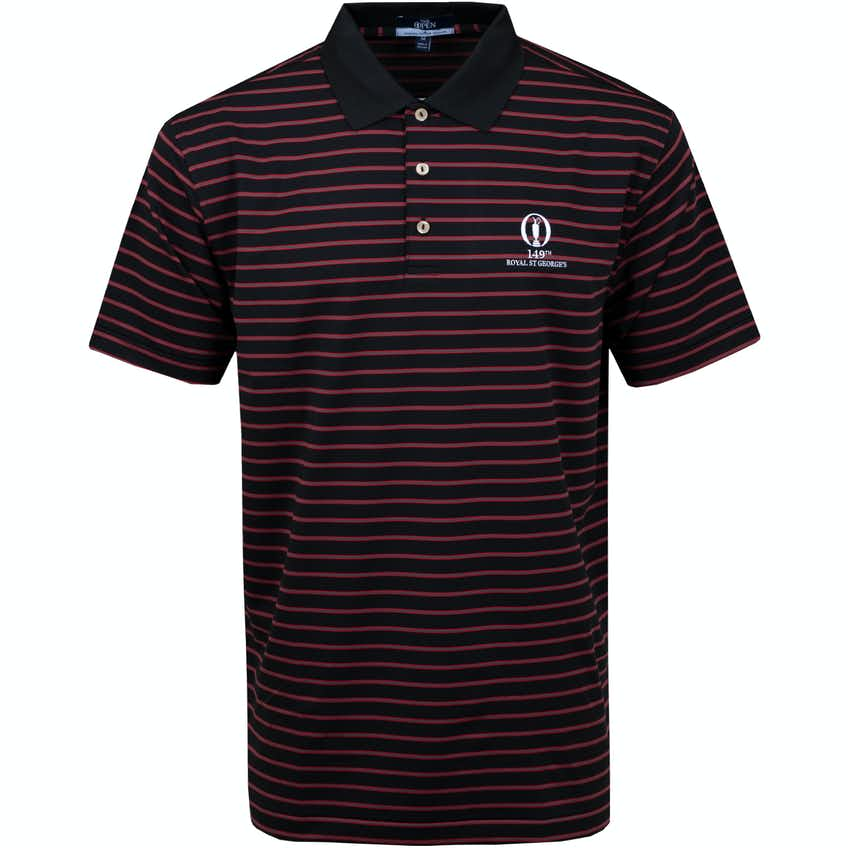 149th Royal St George's Striped Polo Shirt - Black and Red