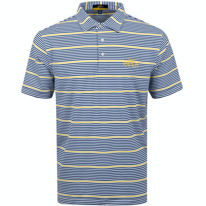The Open Striped Polo Shirt - Blue, White and Yellow