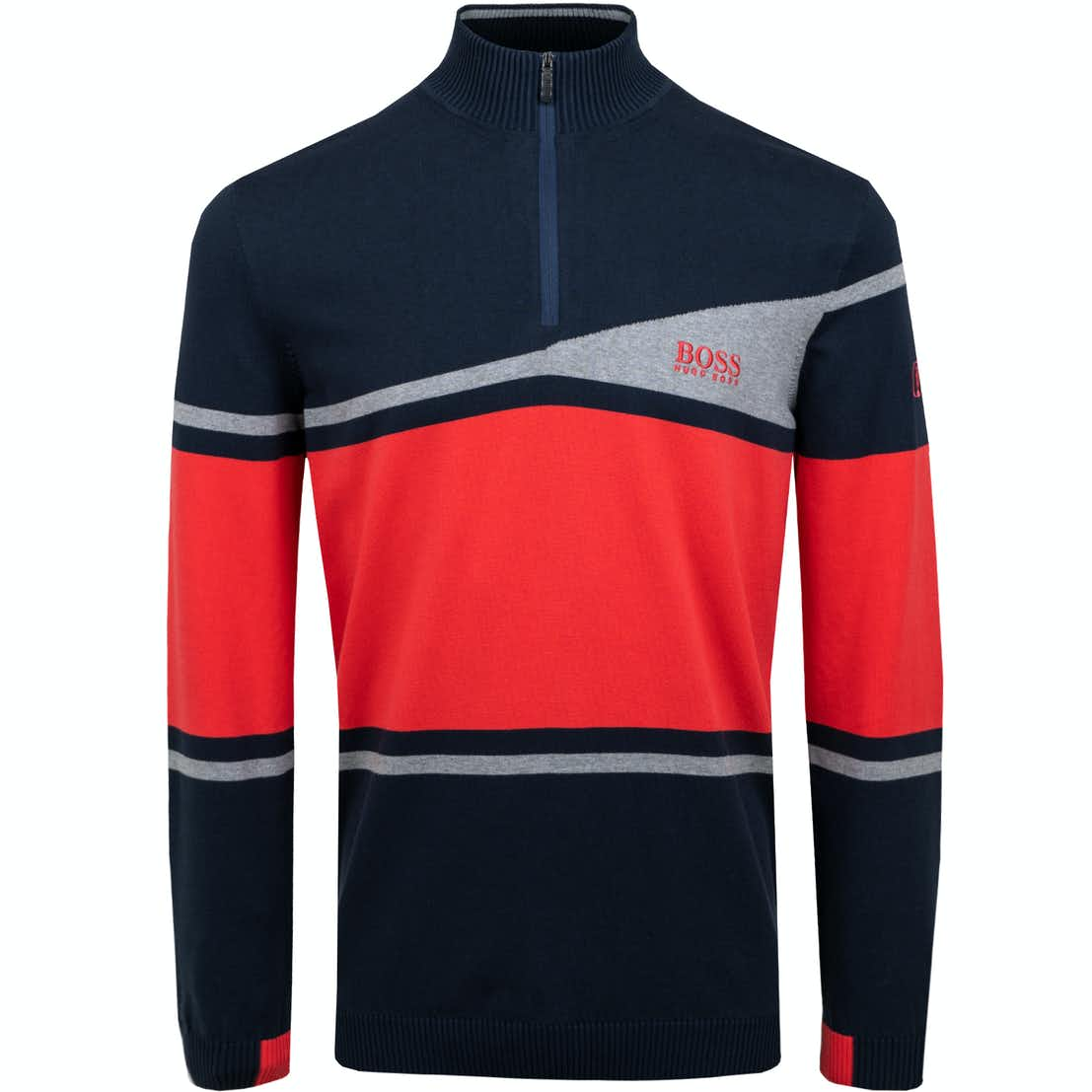 The Open BOSS 1/4-Zip Sweater - Blue and Red
