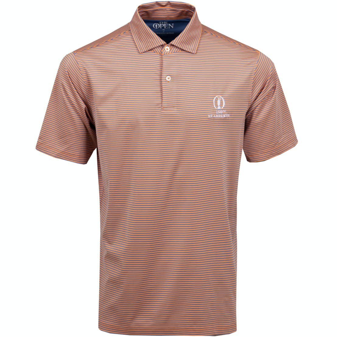 150th St Andrews Striped Polo Shirt - Orange and Blue