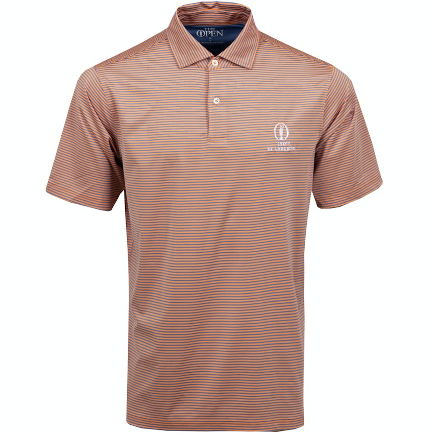 150th St Andrews Striped Polo Shirt - Orange and Blue 0