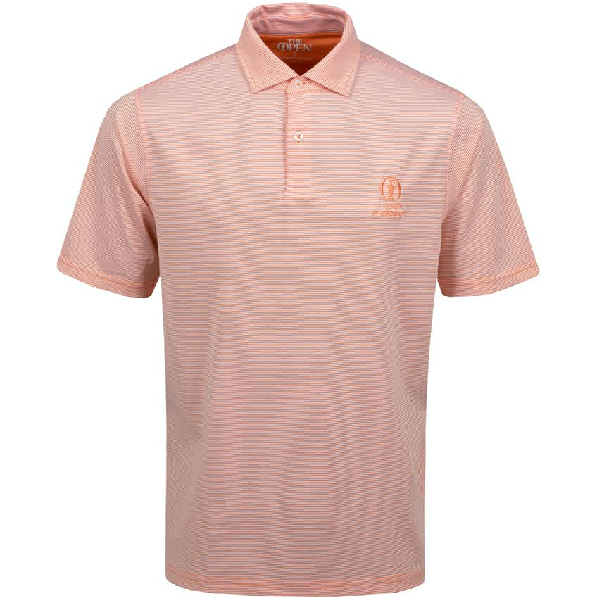 150th St Andrews Striped Polo Shirt - Orange and White