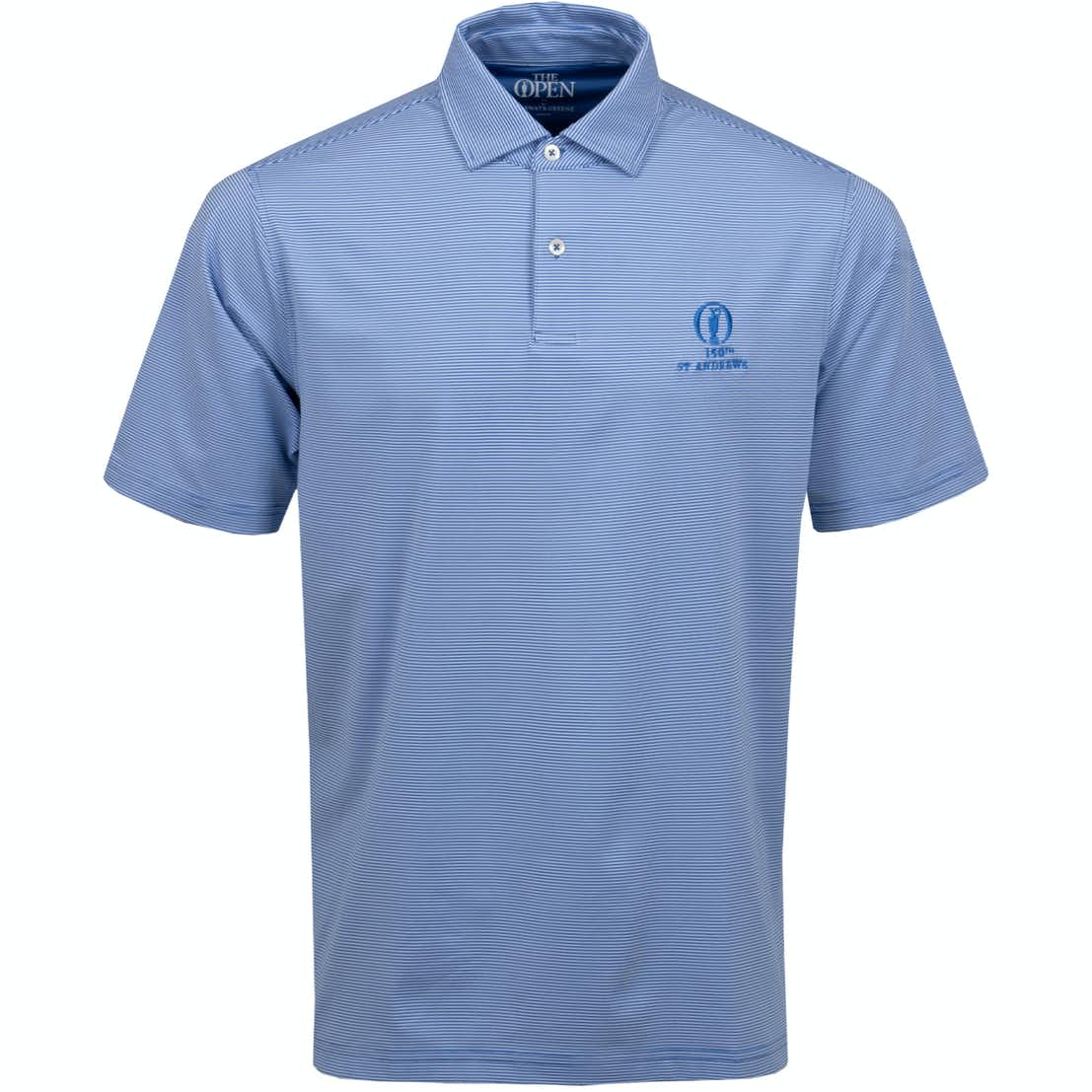 150th St Andrews Striped Polo Shirt - Blue and White