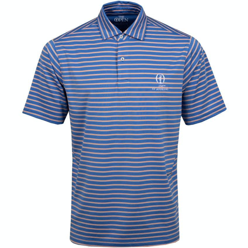 150th St Andrews Striped Polo Shirt - Blue and Orange