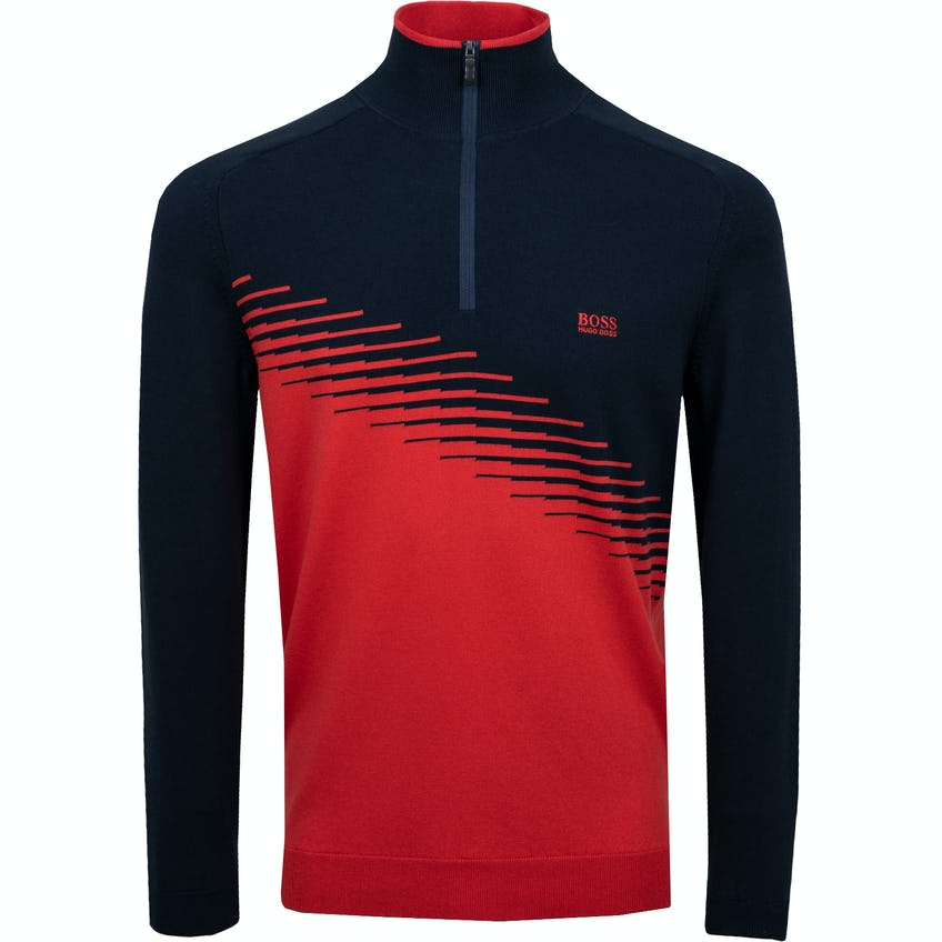 The Open BOSS 1/4-Zip Sweater - Red and Navy 0