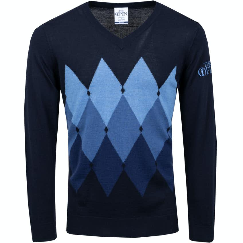 The Open Lyle & Scott V-Neck Argyle Sweater - Blue