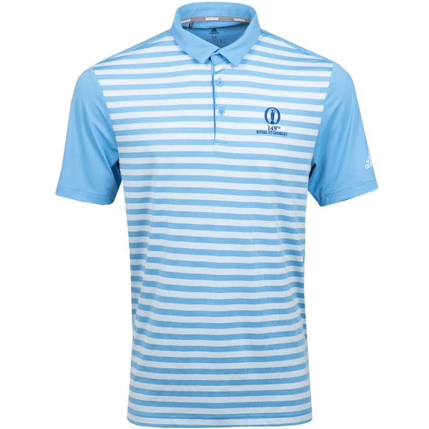 149th Royal St George's adidas Striped Polo Shirt - Blue and White