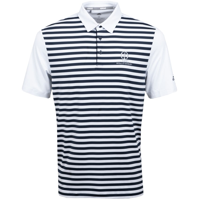 149th Royal St George's adidas ULT365 Striped Polo Shirt - White and Navy