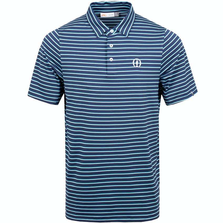The Open KJUS Striped Polo Shirt - Navy and Blue