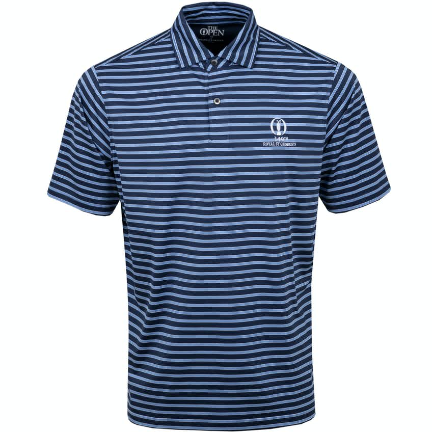 149th Royal St George's Striped Polo Shirt - Navy and Blue