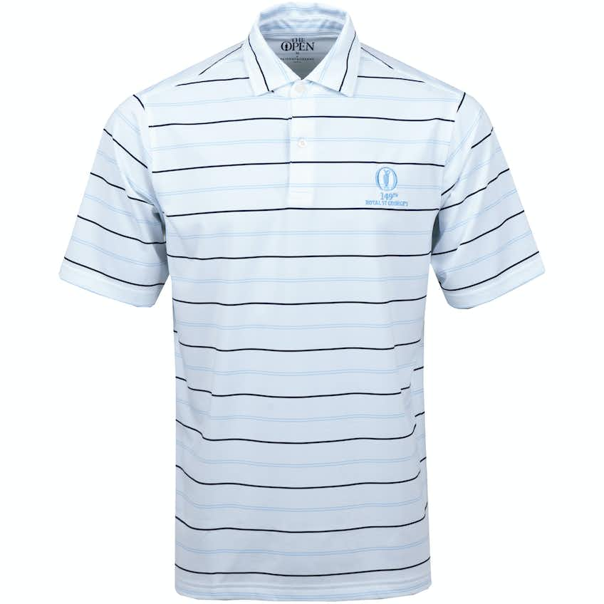 149th Royal St George's Striped Polo Shirt - White, Black and Blue