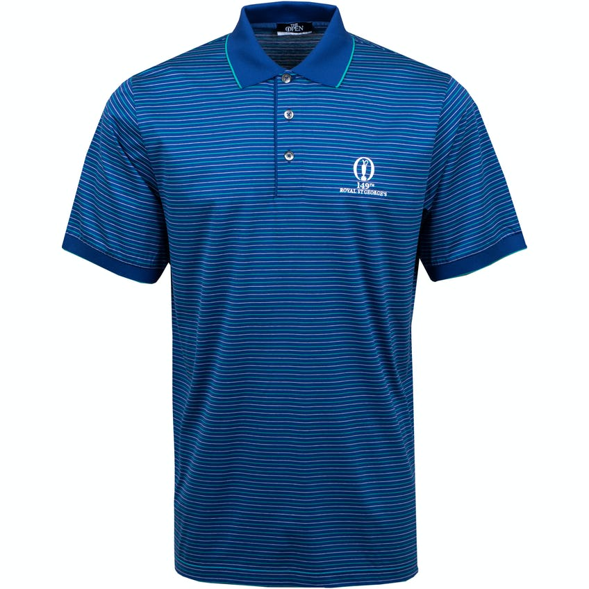 149th Royal St George's Marbas Striped Polo Shirt - Navy, Green and White