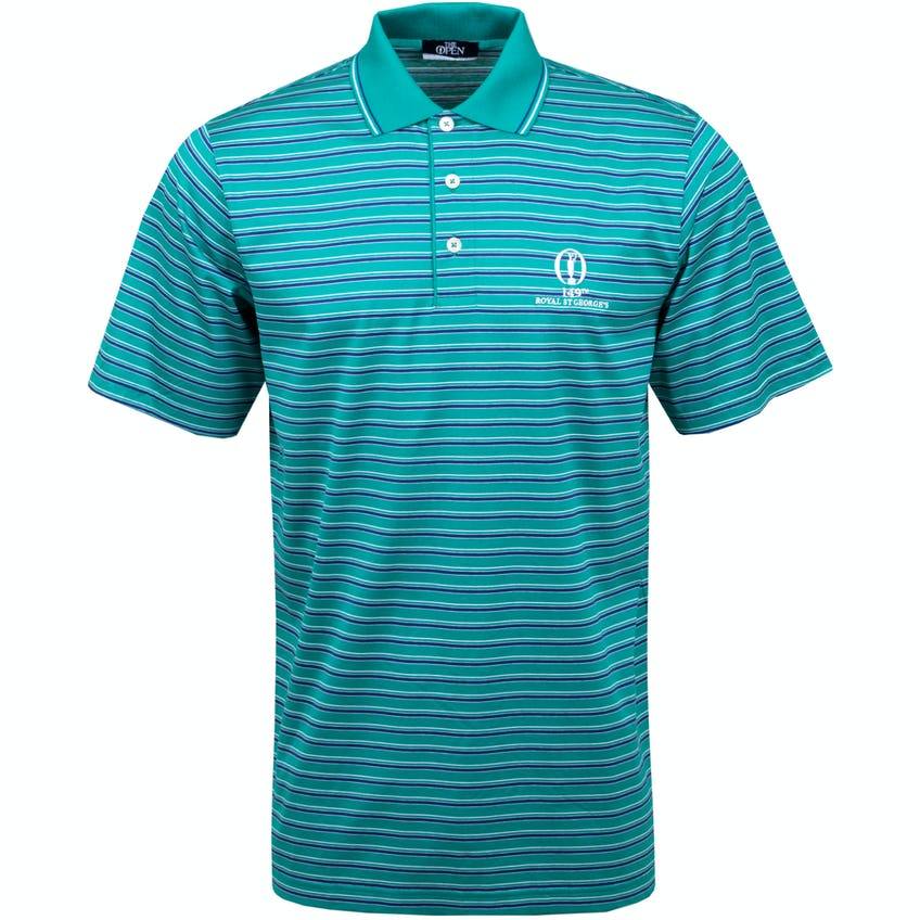 149th Royal St George's Marbas Striped Polo Shirt - Green and Blue