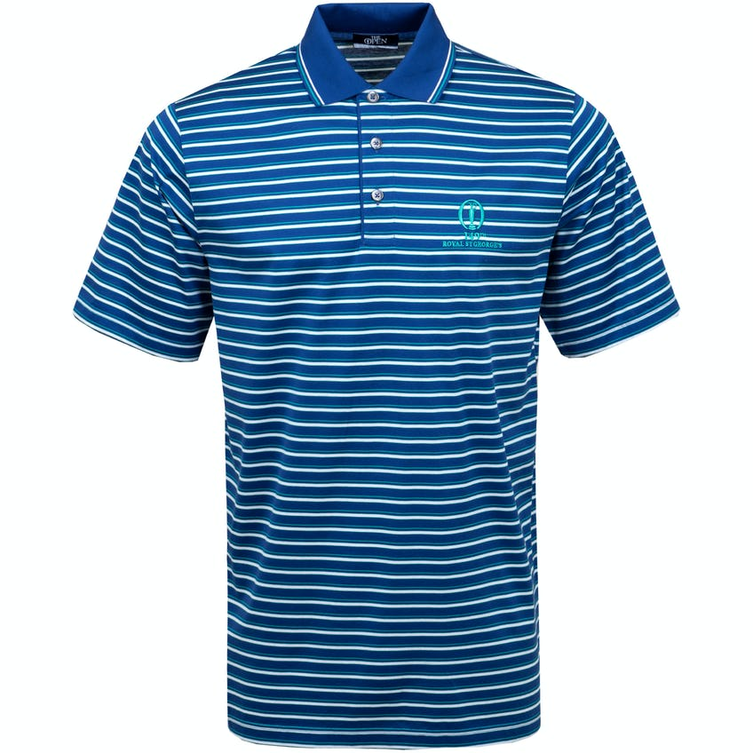 149th Royal St George's Marbas Striped Polo Shirt - Navy, White and Green