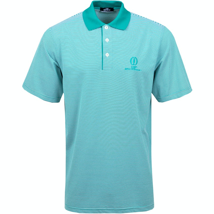 149th Royal St George's Marbas Striped Polo Shirt - Green and White