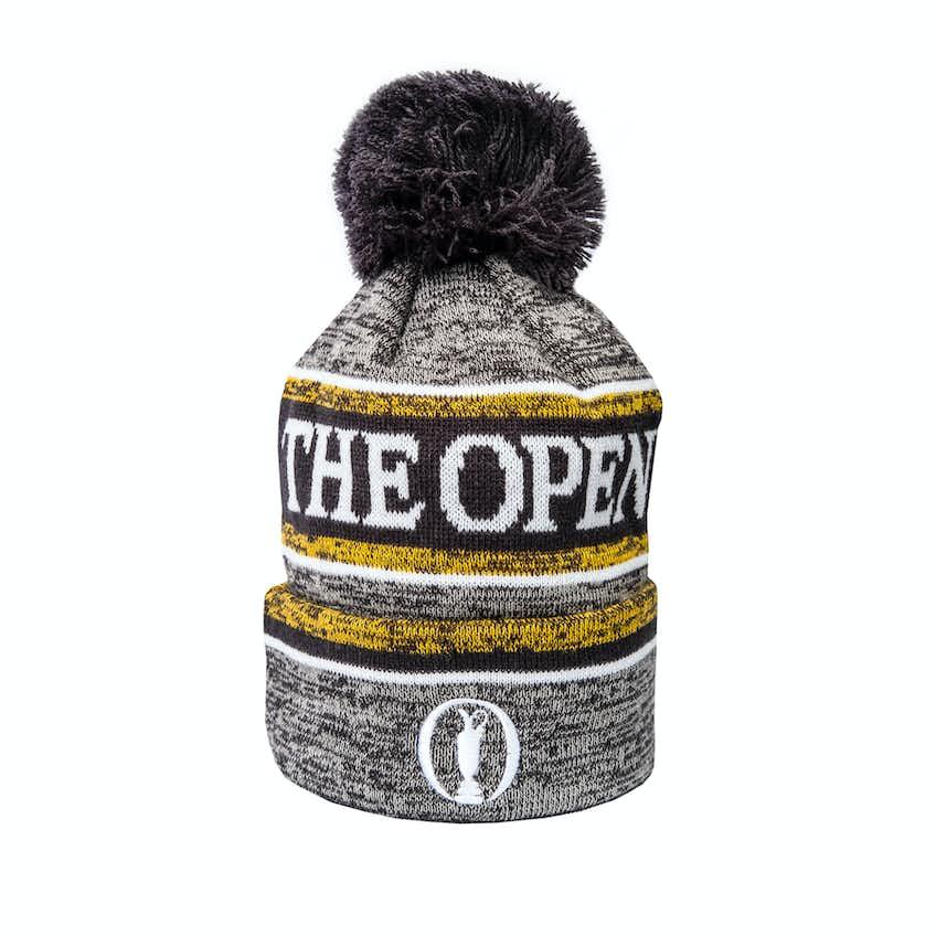 The Open New Era Striped Bobble Beanie Hat - Grey
