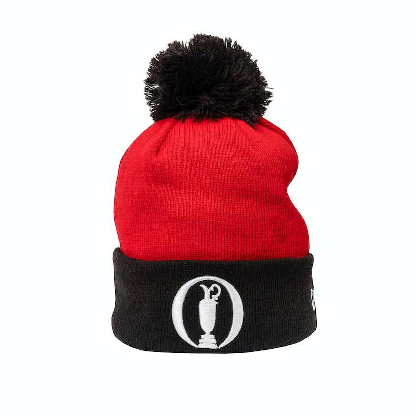The Open New Era Bobble Beanie Hat - Red and Black