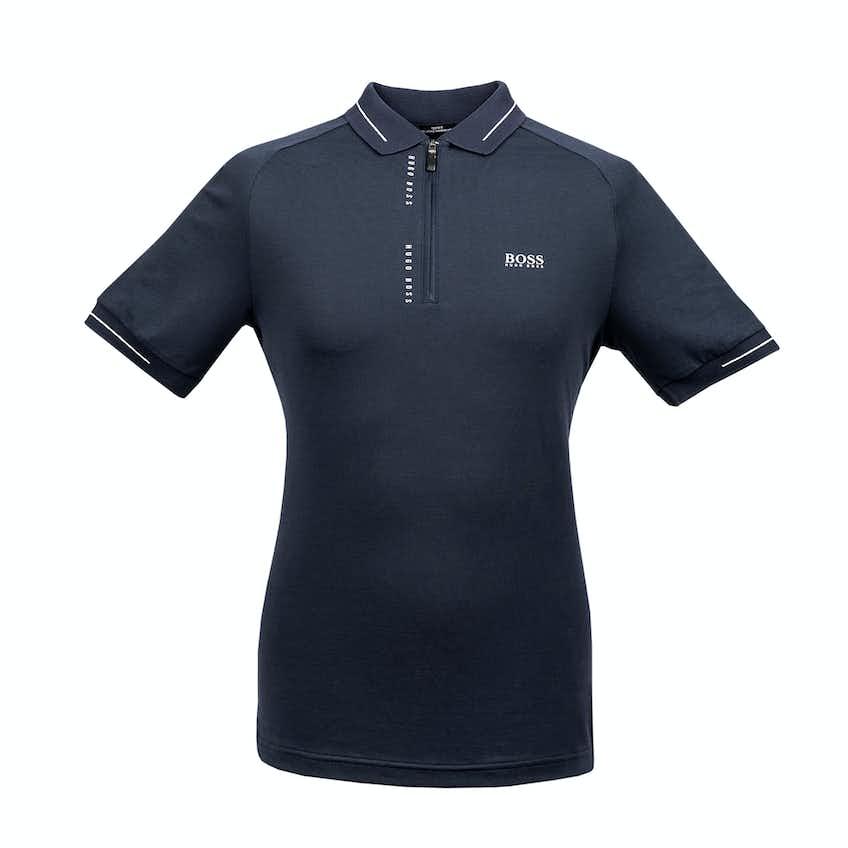 The Open BOSS Zip-Neck Slim-Fit Polo Shirt - Navy