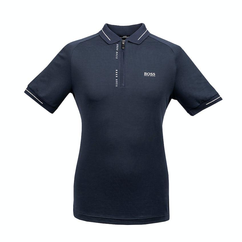 The Open BOSS Zip-Neck Slim-Fit Polo Shirt - Navy 0